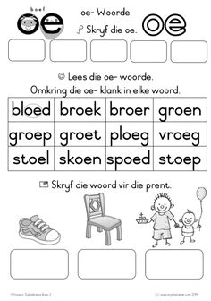 Diftonge Boek 2 VB2 Activities For 5 Year Olds, Preschool Learning Activities, Free Preschool, Preschool Worksheets, Afrikaans Language, Worksheets For Grade 3, Teaching Aids, Kids Education, Homeschool