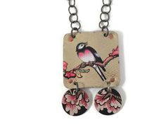 Bird Necklace Vintage Recycled Tin by TinMoonJewelryworks on Etsy
