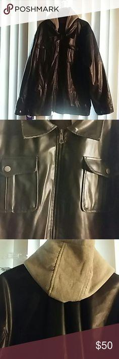 Men's Arizona Coat Black leatherlike ( not real leather) Grey sweatshirt type hood Zipper closure Size 3XL Arizona Jean Company Jackets & Coats
