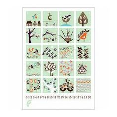 A charming Bird Counting Poster 1 - 20 available from Birdkids. Scandinavian Living, Scandinavian Furniture, Scandinavian Design, Bird Poster, Nursery Inspiration, Spring Day, Kidsroom, Kids House, Nursery Art