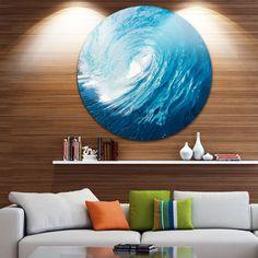 Designart 'Ocean Waves in Hawaii' Photo Round Wall Art