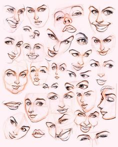 Women'S faces by jonigodoy on cartoon drawings, art drawings, drawing faces, Face Drawing Reference, Female Face Drawing, Drawing Faces, Art Reference, Nose Drawing, Anatomy Reference, Character Design Cartoon, Character Design References, Animation Character