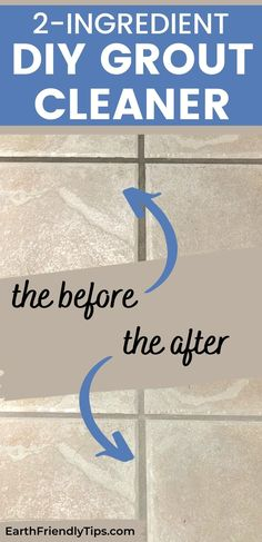 If you clean your tile floors, but your grout still looks dirty, you absolutely must try this DIY grout cleaner. This homemade grout cleaner uses only 2 simple and natural ingredients that will remove years of dirt, grime, and dust to reveal a clean you have to see to believe! #ecofriendly #natural #cleaning #DIY #homemade Homemade Cleaning Products, Cleaning Diy, How To Make Diy, How To Remove, Cleaning Floor Grout, Homemade Grout Cleaner, Eco Friendly House, Housekeeping, Floors