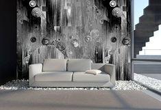 Moderne Wohnzimmer Tapeten Beautiful Kreisschwebe Grau Schwarz Kunst Von Mowade