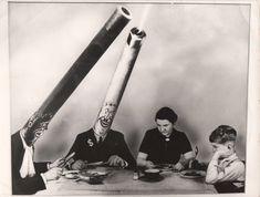 John Heartfield - Gefährliche Mitesser (Dangerous Dining Companions), gelatin silver print of photomontage, ca. 1930's / printed ca. 1950's