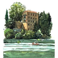 Sign up to my newsletter to enter the free draw win this original #painting worth £130 of The Vieux Moulin #Hotel, Pont du Gard in Southern #France. The newsletter will be sent out 26/07/18 Sign up here: http://www.liamofarrell.com/2018/07/pont-du-gard-painting/