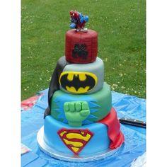 Birthday party ideas / Superhero Birthday Cake ❤ liked on Polyvore