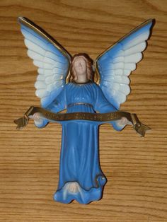 Vintage Angel Christmas Ornament ''Gloria in Excelsis Deo''  6'' 5/8 inches tall