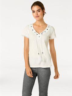 7875706a78ce64 Linea Tesini by heine - Spitzenshirt mit Bindebändern ecru im heine Online- Shop kaufen