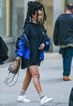 Stylish: Rihanna didn't appear in the slightest bit affected by Charlie Sheen's harsh words while heading to the Ocean's Eight set in New York City on Thursday