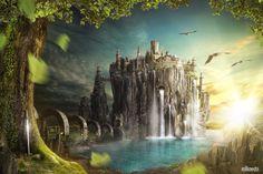 "New Matte Painting ""Ancient Town"". Over 160 Photoshop-Layers. http://www.stilknecht.de/photoshop-composing-ancient-town/"