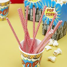 pop art superhero red chevron paper straws by ginger ray | notonthehighstreet.com