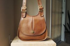 rare coach crescent bag from the early 1980s in tabac brown