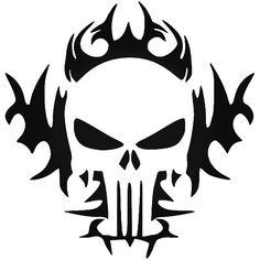 The Punisher Tribal Flame Skull Vinyl Decal Sticker BallzBeatz . com