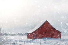 Winter Photography Red Barn in Snow Fine Art