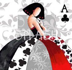 Cuadro Menina moderna poker 1 rojo negro -SP303