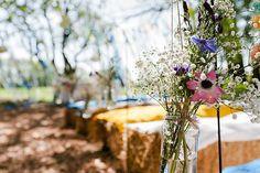 Jar Flowers Aisle Ceremony Colourful Outdoor Woodland DIY Yurt Wedding http://alexa-loy.com/