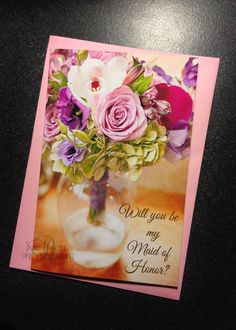 Will you be my Maid of Honor card? 4x6 wedding bridesmaid invitation bridal party cards flower bouquet pink roses glass vase purple #Pink #Wedding #PinkWedding #Paper