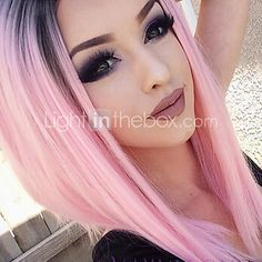 Lace Front Pink Hair Wigs Synthetic Lace Wigs Heat Resistant Pink Ombre Wigs - USD $49.13