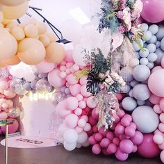 So divine is this color combo! _ ・・・ another look at this incredible balloon wall we created for Balloon Installation, Balloon Backdrop, Balloon Wall, Balloon Garland, Balloon Decorations, Birthday Decorations, Baby Shower Decorations, Ballon Arrangement, Bohemian Birthday Party