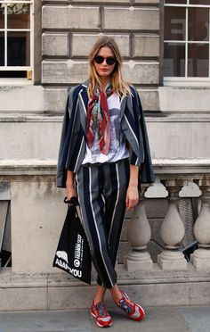 striped pantsuit // silk scarf // red sneakers // casual style // street style 2017
