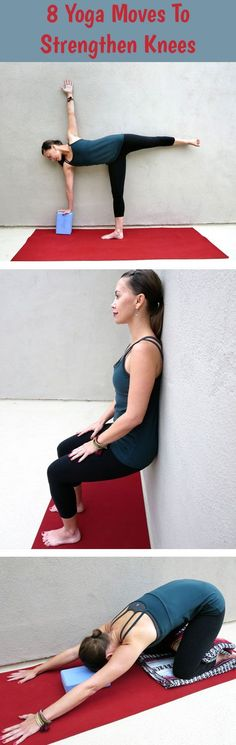 Yoga can be daunting for those with knee problems. Unfortunately, that's a lot of us. Here are 8 yoga moves to help strengthen and stretch the knees! Yoga can be daunting for thos Yoga Bewegungen, Sup Yoga, Wall Yoga, Pilates Yoga, Ashtanga Yoga, Yoga For Knees, Stretches For Knees, Sculpter Son Corps, Knee Strengthening Exercises