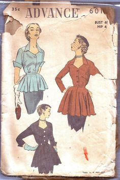 Plus Size Vintage Sewing Pattern 40s Blouse Peplum by weezieduzzit, $18.00