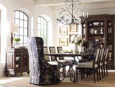 Kincaid Furniture; formal dining room; The design incorporates hand-worked surfaces with protected Kinguard finishes to offer long-lasting performance that ages well with everyday use. Other features include solid wood construction, adjustable levelers in table bases and storage items plus a choice of sizes, finishes, and chair styles to fit your needs.