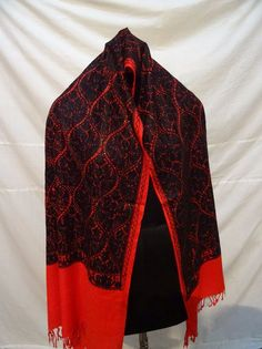 006 Embroidered, 100% Cashmere, Heirloom Shawl. Crewel Embroidery,Pashmina Scarf #ShawlWrap