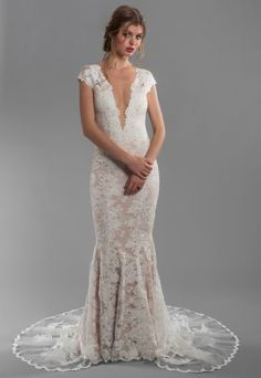 f17b30c6937 Cap Sleeve All Lace Deep V-neck Fit And Flare Wedding Dress With Deep-