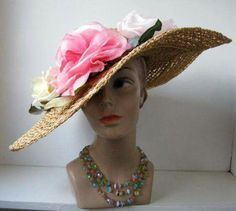 A Vintage Large Picture Hat With Wide Brim. #peekaboo #style #flowers #1950s