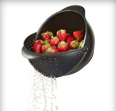 """An innovation in cooking and prep gadgets, the """"Rinse"""" is a bowl and strainer that is perfect for washing fruits and vegetables.A smooth, locking strainer easily folds out to catch your food items in one easy tilt.Please allow days for delivery. Cool Kitchen Gadgets, Home Gadgets, Cooking Gadgets, Kitchen Hacks, Cool Kitchens, Cheap Gadgets, Modern Kitchens, Bathroom Gadgets, Electronics Gadgets"""