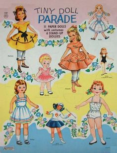 Tiny Doll Parade w/ 11 pds, 1963 Saalfield #1340 (1 of 7). Assorted dolls from nos. 4444, 6189, 2780, 2808, 4186, & 2618.