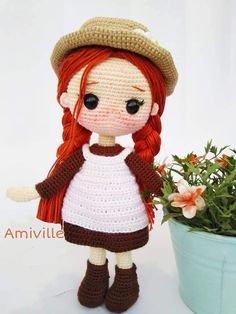Crochet Dolls Free Patterns, Amigurumi Patterns, Free Crochet Pattern Animals, Spanish Pattern, Crochet Doll Tutorial, Crochet Mignon, Anne Of Green Gables, Stuffed Animal Patterns, Cute Crochet