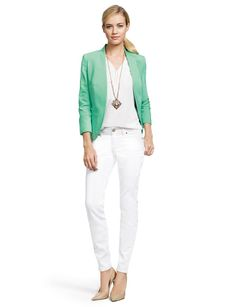 Hint of Tint- Create this look with our Smooth Open Front Blazer, Trimmed Split-V Blouse, 678 Skinny Ankle Jeans, Faux Gem Pendant Necklace, & Chevron Stretch Bracelet.