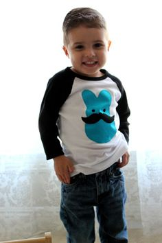 Mustache EASTER BUNNY BOYS Raglan Tee 3 Months to 4/5 (CUTE DIY IDEA)
