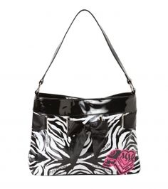 """Metal Mulisha white faux leather purse with allover zebra logo print, shiny faux leather trim and straping, satin tie detail, pink logo applique and metal track logo.  13""""W x 10""""T x 4""""D"""