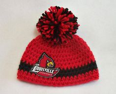 Crocheted Baby Hat University of Louisville Red & by dreamfancies