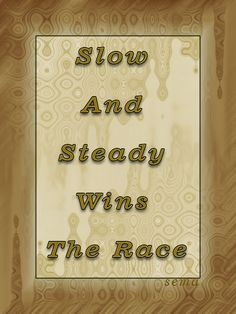 Slow And Steady Wins The Race - #quote #inspiration