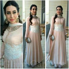 Last month, Karisma was in Kuwait to inaugurate a jewellery showroom to which she wore a light pink Manish Malhotra suit. Playing off of the white and gold embroidery of the suit, the look was finished out with a jeweled Judith Leiber clutch and Curio Cottage earrings. - See more at: http://www.highheelconfidential.com/tag/karisma-kapoor/page/2/#sthash.EKT72BkW.dpuf