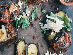 Grilled Eggplant and Tomatoes with Parmesan-Basil Crumbs | Fresh bread crumbs are an underrated way of adding fabulous crunch to recipes. Here Francis Mallmann uses bread crumbs tossed with fresh basil and lot... Roast Eggplant, Eggplant Dishes, Grilled Eggplant, Fresh Bread Crumbs, Vegetable Entrees, Basil Recipes, Veggie Recipes, Vegetarian Recipes, Grilled Vegetables
