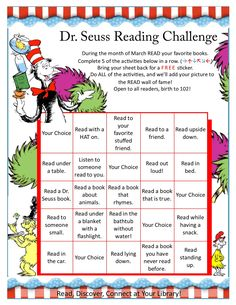 Dr Seuss Reading Challenge