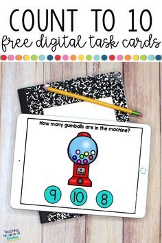 Kindergarten students will love practicing counting to 10 and 1:1 correspondence for numbers 1- 10 in this FREE boom card deck. These digital task cards are a fun way to practice subitizing or reviewing numbers to build a stronger number sense.  Kids will love the gumball machines and interactive flashcards.  Boom cards work on the Boom Learning platform and they work on almost any device.  Try them today!