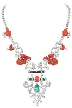 Van Cleef 'Bois Céleste' necklace of red coral, aqua garnet, turquoise and diamonds in platinum setting.