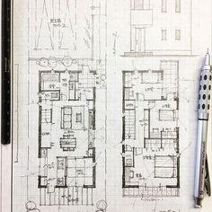 ・ 32坪4人家族の家2 ・ キッチンに立つ奥様が全てを見渡せるように ・ #手描き#マイホーム計画#間取り#間取り図#間取りいろいろ#注文住宅#建築#住宅#家#マイホーム#暮らしを楽しむ#インテリアデザイン#インテリア#マイホーム記録 #フリーハンド#新築一戸建て#奥様#自由設計#くらし #architectures #interiorsketch#archsketch#archidesign#archilovers #architects#arch_arts#freehanddrawing#floorplan#archi Japan Architecture, Architecture Details, Small House Plans, House Floor Plans, Floor Plan Sketch, Craftsman Floor Plans, Duplex Plans, Small House Design, Room Planning