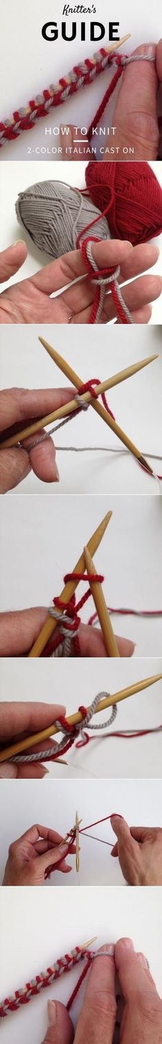 Not sure how to knit a 2 Color Italian cast-on? Look this way... #ArtsandCraftsProjects #howtolearnitalian