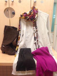 2016-01-20. White suede dress coat. Magenta turtleneck. Brown fleece tights. Brown suede boots. Magenta/purple/yellow/brown watercolor scarf.
