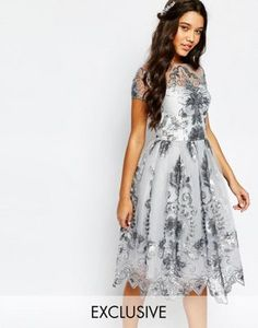 Chi Chi London Midi Prom Dress with Delicate Sequin