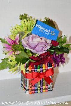 My Creative Way: Crayon Bouquet Teachers Gift Tutorial