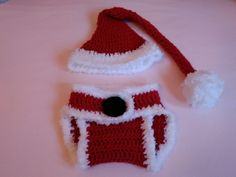 Santa hat and nappy cover